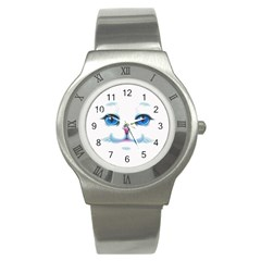 Cute White Cat Blue Eyes Face Stainless Steel Watch by BangZart