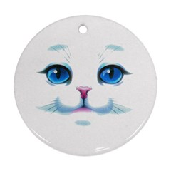 Cute White Cat Blue Eyes Face Round Ornament (two Sides) by BangZart