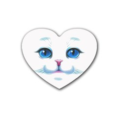 Cute White Cat Blue Eyes Face Rubber Coaster (heart)