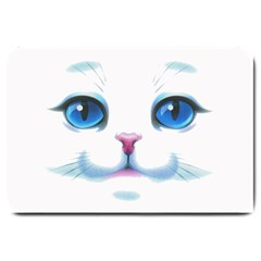 Cute White Cat Blue Eyes Face Large Doormat
