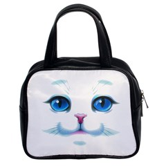 Cute White Cat Blue Eyes Face Classic Handbags (2 Sides)