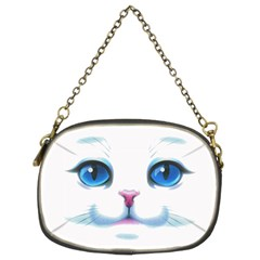 Cute White Cat Blue Eyes Face Chain Purses (two Sides)