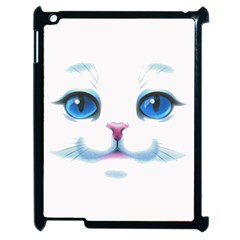 Cute White Cat Blue Eyes Face Apple Ipad 2 Case (black)