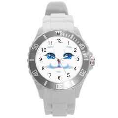 Cute White Cat Blue Eyes Face Round Plastic Sport Watch (l)