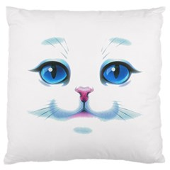 Cute White Cat Blue Eyes Face Large Cushion Case (two Sides) by BangZart