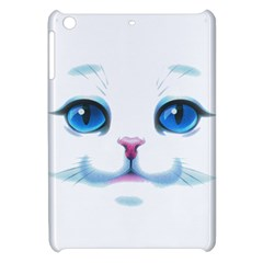 Cute White Cat Blue Eyes Face Apple Ipad Mini Hardshell Case by BangZart