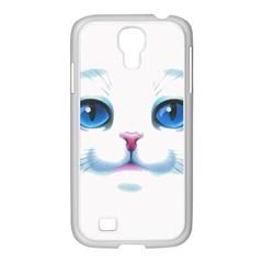 Cute White Cat Blue Eyes Face Samsung Galaxy S4 I9500/ I9505 Case (white)