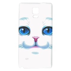 Cute White Cat Blue Eyes Face Galaxy Note 4 Back Case