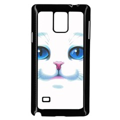 Cute White Cat Blue Eyes Face Samsung Galaxy Note 4 Case (black) by BangZart
