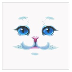 Cute White Cat Blue Eyes Face Large Satin Scarf (square)