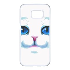 Cute White Cat Blue Eyes Face Samsung Galaxy S7 Edge White Seamless Case