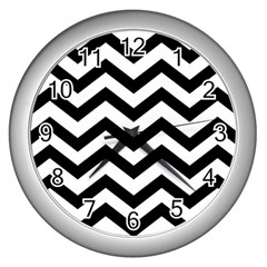 Black And White Chevron Wall Clocks (silver)
