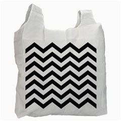 Black And White Chevron Recycle Bag (two Side)  by BangZart