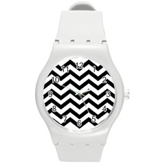 Black And White Chevron Round Plastic Sport Watch (m)