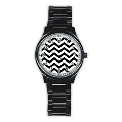 Black And White Chevron Stainless Steel Round Watch by BangZart
