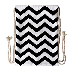 Black And White Chevron Drawstring Bag (large)