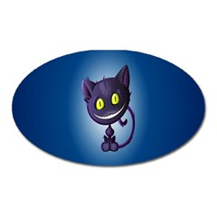 Funny Cute Cat Oval Magnet by BangZart