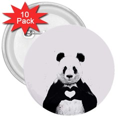 Panda Love Heart 3  Buttons (10 Pack)