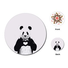 Panda Love Heart Playing Cards (round)  by BangZart