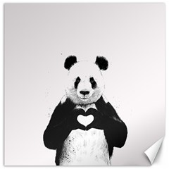 Panda Love Heart Canvas 12  X 12
