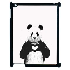 Panda Love Heart Apple Ipad 2 Case (black) by BangZart