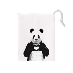 Panda Love Heart Drawstring Pouches (medium)