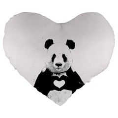 Panda Love Heart Large 19  Premium Flano Heart Shape Cushions by BangZart