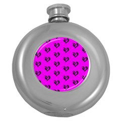 Lovely Hearts 17c Round Hip Flask (5 Oz) by MoreColorsinLife