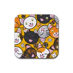 Cats Cute Kitty Kitties Kitten Rubber Coaster (square)