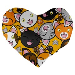 Cats Cute Kitty Kitties Kitten Large 19  Premium Flano Heart Shape Cushions