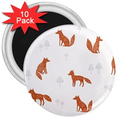 Fox Animal Wild Pattern 3  Magnets (10 Pack)