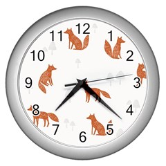 Fox Animal Wild Pattern Wall Clocks (silver)