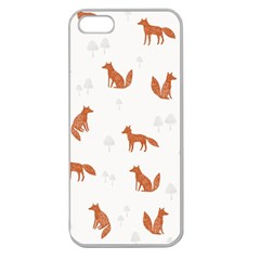 Fox Animal Wild Pattern Apple Seamless Iphone 5 Case (clear)