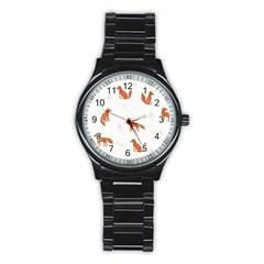Fox Animal Wild Pattern Stainless Steel Round Watch