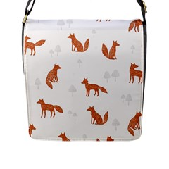 Fox Animal Wild Pattern Flap Messenger Bag (l)