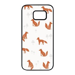 Fox Animal Wild Pattern Samsung Galaxy S7 Edge Black Seamless Case by BangZart