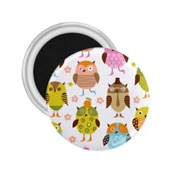 Cute Owls Pattern 2 25  Magnets