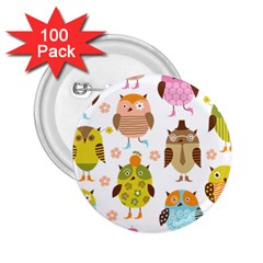 Cute Owls Pattern 2 25  Buttons (100 Pack)