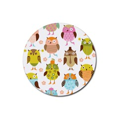 Cute Owls Pattern Rubber Round Coaster (4 Pack)