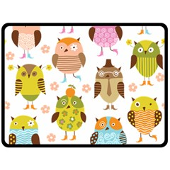 Cute Owls Pattern Fleece Blanket (large)  by BangZart