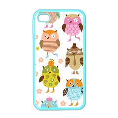 Cute Owls Pattern Apple Iphone 4 Case (color)
