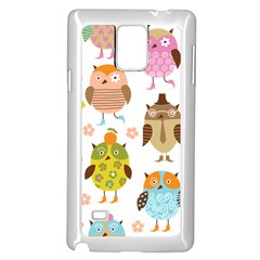 Cute Owls Pattern Samsung Galaxy Note 4 Case (white)