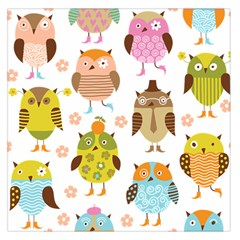 Cute Owls Pattern Large Satin Scarf (square)