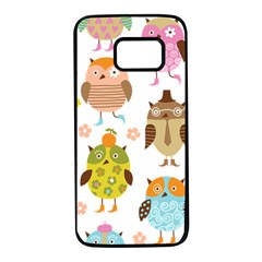 Cute Owls Pattern Samsung Galaxy S7 Black Seamless Case