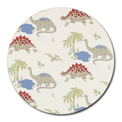 Dinosaur Art Pattern Round Mousepads by BangZart