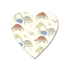 Dinosaur Art Pattern Heart Magnet