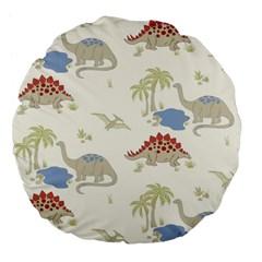 Dinosaur Art Pattern Large 18  Premium Flano Round Cushions