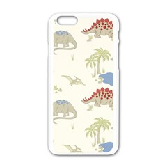 Dinosaur Art Pattern Apple Iphone 6/6s White Enamel Case
