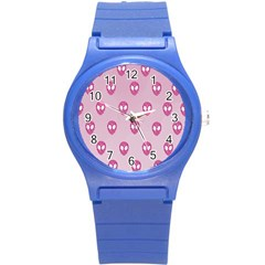 Alien Pattern Pink Round Plastic Sport Watch (s)