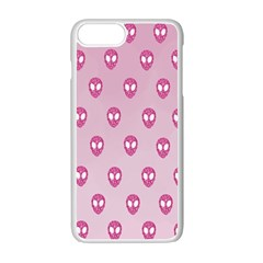 Alien Pattern Pink Apple Iphone 7 Plus White Seamless Case